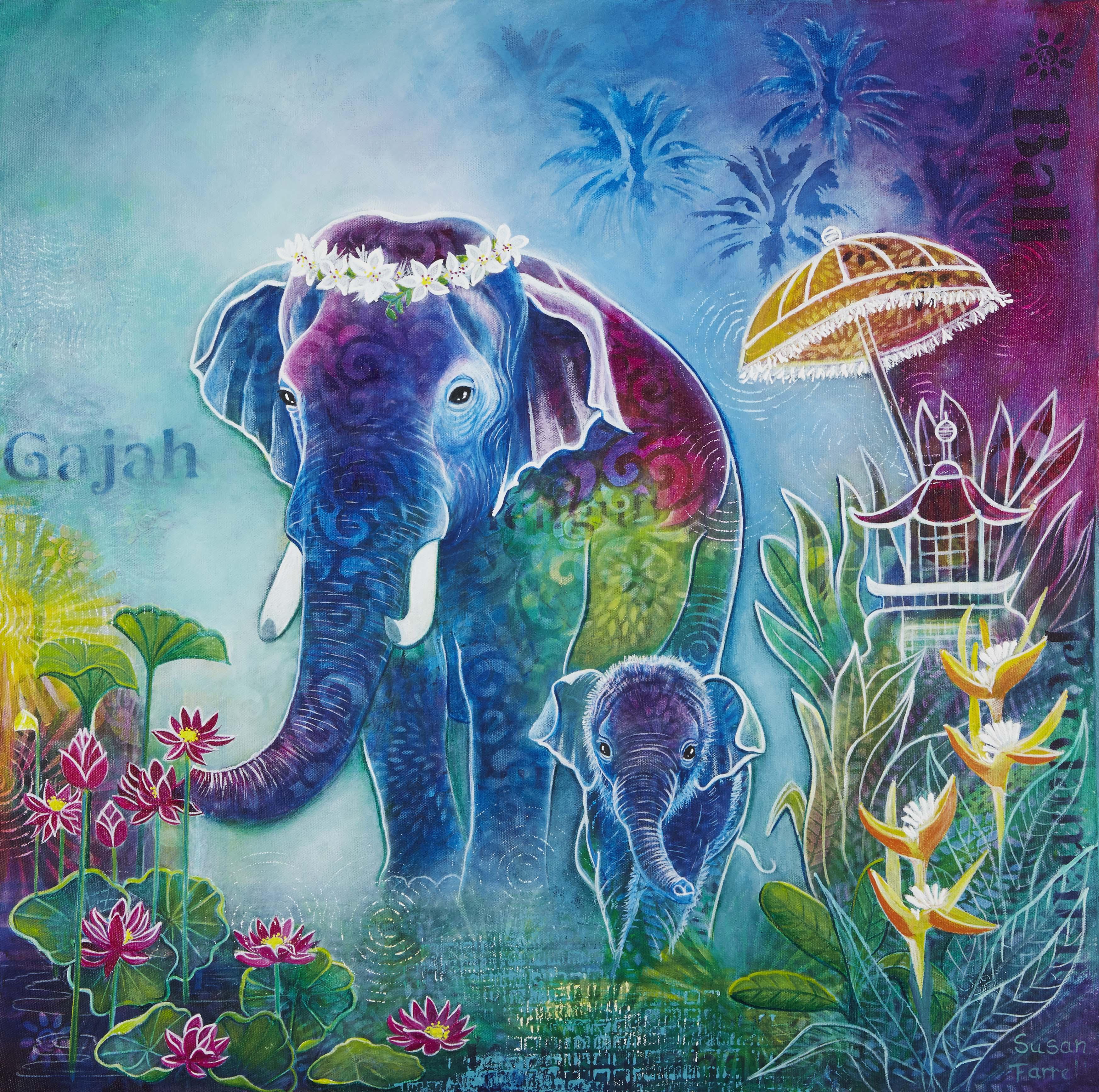 Gajah Dan Bayi Art Print Susan Farrell Art